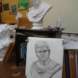 石膏デッサン   カラカラ帝1