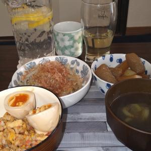 もやし炒め、大根煮、紅生姜炒飯、もずくスープ