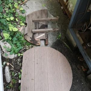 人工木板による井戸蓋製作