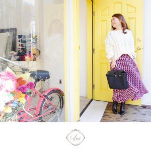 カラーツイードスカートのピンクコーディネート♪