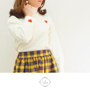 ハート&チェックコーディネート♡