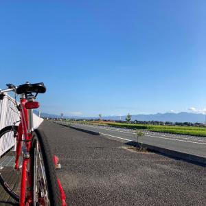 赤城山とクロスバイク