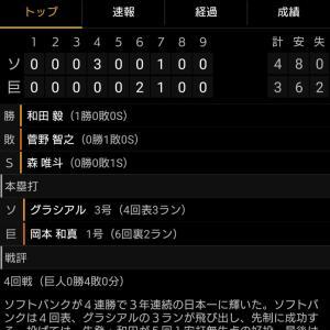 G     3-4     H 日本シリーズ敗退・・