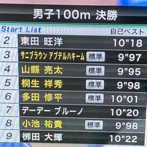 陸上100m 9秒台が4人。