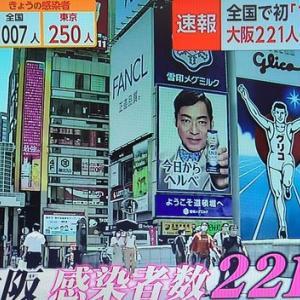 新型コロナウイルス感染者、大阪221人!なんて報道の度に写る戎橋の香川照之