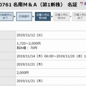 【IPO抽選結果】 名南M&A(7076)