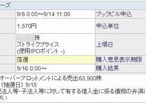 【IPO抽選結果】 デジタリフト 、本日分の結果