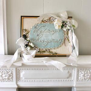 ビーズ装飾のウェルカムボード
