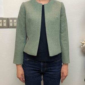 生徒作品NO.1383☆2年生コース ジャケットのパターンと縫製を学ぶ ノーカラージャケット