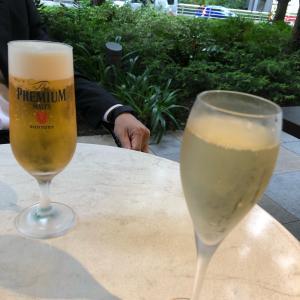 京橋のテラス席で ♡ 晩ごはんデート ♡ ワインやシェリーや…