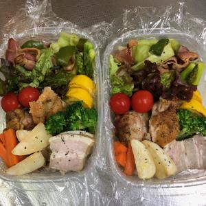 スタジアムに持参した2人の野菜たっぷりお弁当