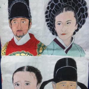 水彩絵の具と綿棒で描いた韓国宮廷ドラマ登場人物