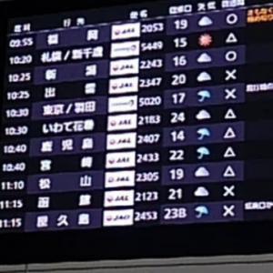 屋久島行き航空機雨天で天候調査?!