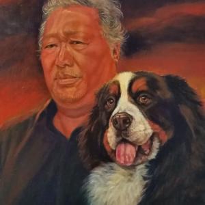 バーニーズマウンテンドッグと紳士の肖像画 軽井沢