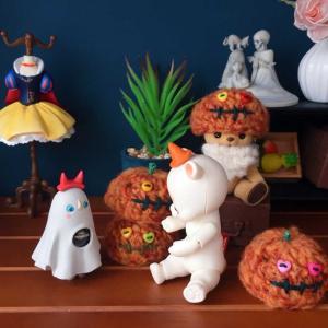 お人形用・かぼちゃ帽子編み始めました^^