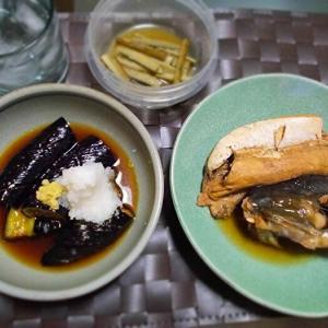 ◆ぶりのあら煮、茄子の揚げだし feat.芋焼酎