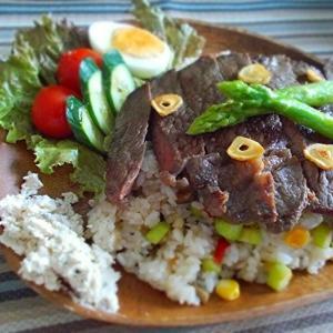 ◆ガーリックライス、ペラペラステーキ