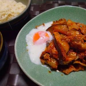 ◆豚肉とナスのキムチ炒め