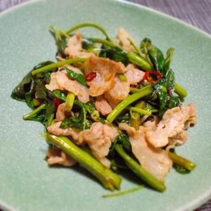 ◆豚肉と空心菜のニンニク炒め