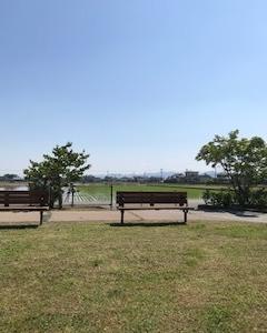 公園にてノルディックウォーク