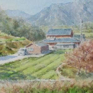 近場のスケッチ今昔№95「人丸の丘から見る右田岳」