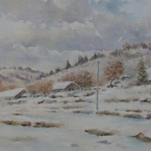 水彩お絵描き思い出めくり№87「冬の伊良尾岳山麓」