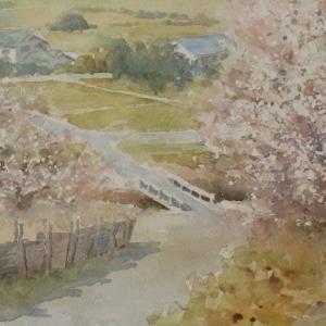 水彩お絵描き思い出めくり№88「湯野・梅林」