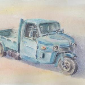 水彩お絵描き思い出めくり№109「マツダ三輪トラック」