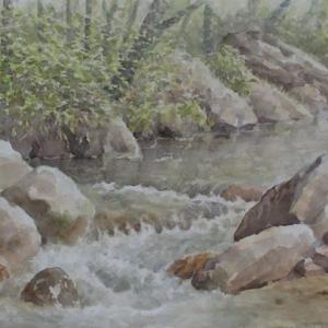 水彩お絵描き思い出めくり№118「渓流・春」