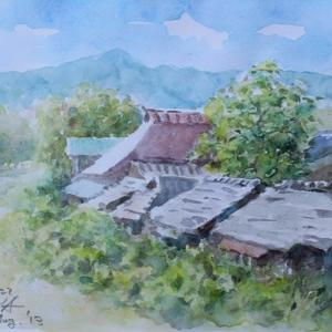 水彩お絵描き思い出めくり№172「川辺の民家」