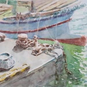 水彩お絵描き思い出めくり№173「中関港で」