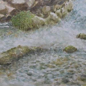 水彩お絵描き思い出めくり№176「渓流」