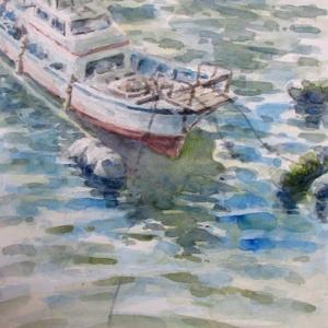水彩お絵描き思い出めくり№178「船留まり」