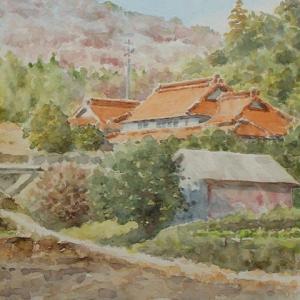 水彩お絵描き思い出めくり№187「春を待つ山里1」