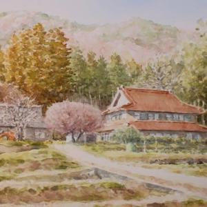 水彩お絵描き思い出めくり№188「春待つ山里2」