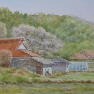 水彩お絵描き思い出めくり№191「春を待つ山里5」