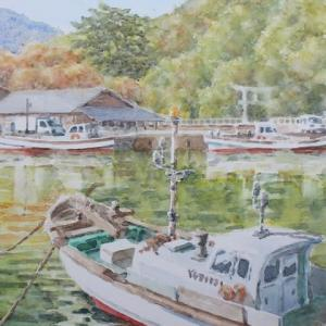 水彩お絵描き思い出めくり№192「江崎漁港」