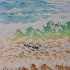 水彩お絵描き思い出めくり№199「波」