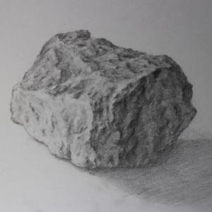 水彩お絵描き思い出めくり№203「石のデッサン」
