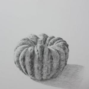 水彩お絵描き思い出めくり№205「かぼちゃのデッサン」