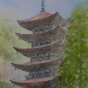 水彩お絵描き思い出めくり№239「瑠璃光寺五重塔」