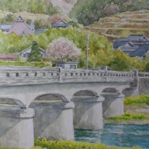 水彩お絵描き思い出めくり№241「人丸橋(防府市)」