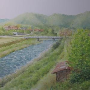水彩お絵描き思い出めくり№243「船路の近く、流れ下る佐波川」