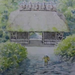 水彩お絵描き思い出めくり№247「阿弥陀寺山門」