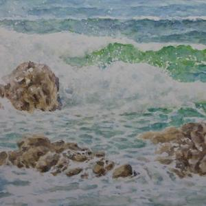 水彩お絵描き思い出めくり№248「木与の海岸」