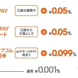 auじぶん銀行 auの各サービスとの連携により普通預金金利が最大0.20%にUP