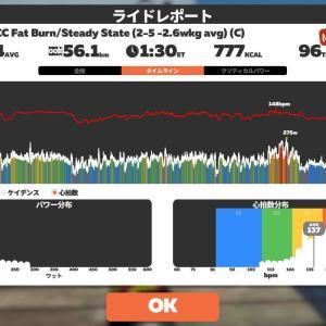 5/16 Zwift90分@EVO CC Fat Burn/Steady State (2-5 -2.6wkg avg) (C)