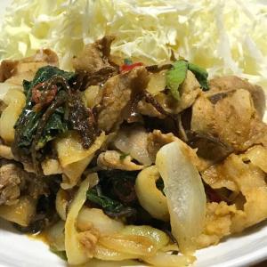 くらこんレシピ:豚肉と塩こんぶのカレー炒め
