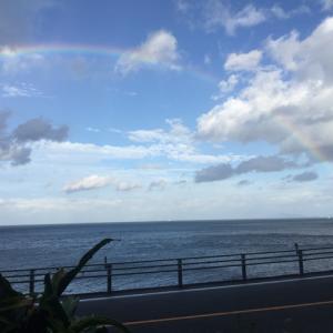 虹と南風(台風25号接近)。