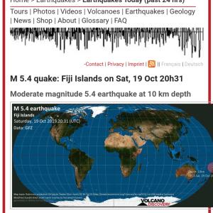 フィジーでマグニチュード5.4 #地震 #速報